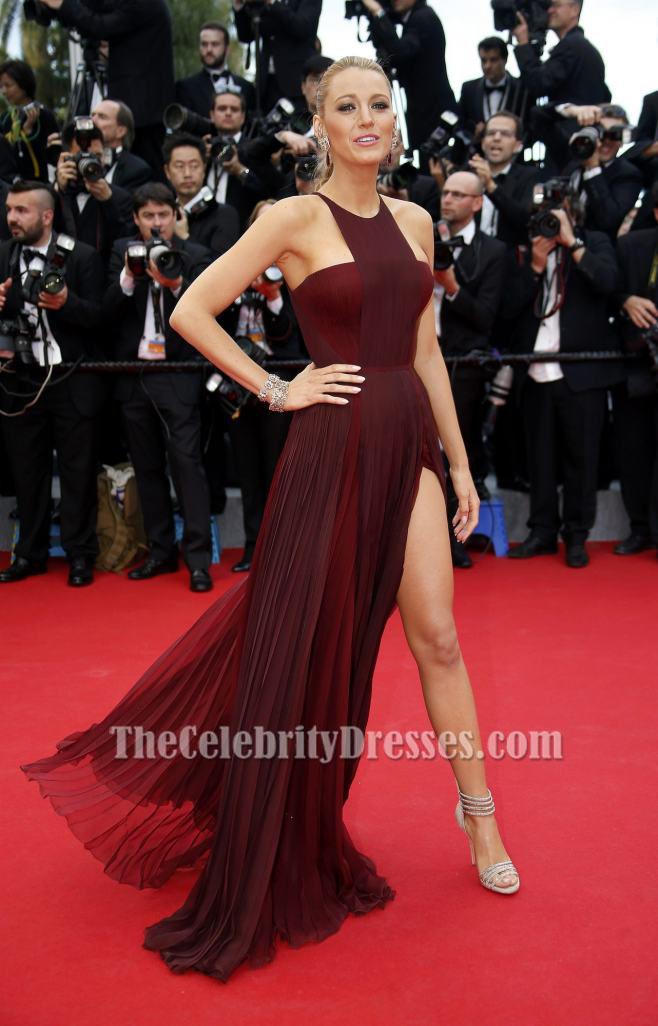 Blake Lively Burgundy Prom Dress Cannes 2017 Red Carpet Thecelebritydresses