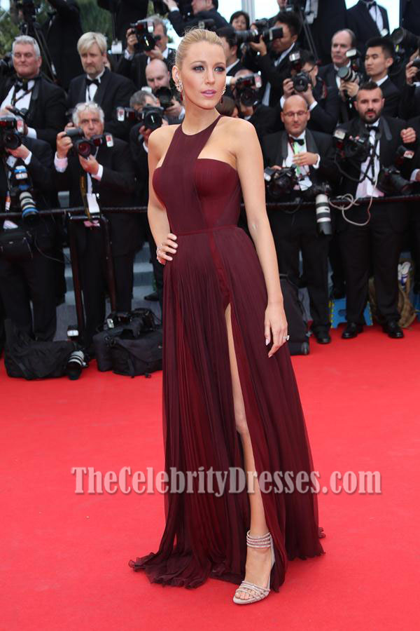 Blake Lively Burgundy Prom Dress Cannes 2014 Red Carpet ...