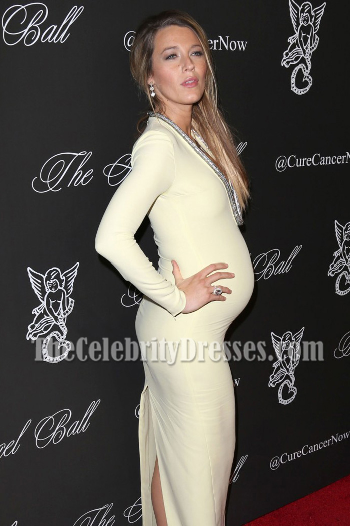 4ba948d84ff Blake Lively Yellow Long Sleeves Plunging Neckline Evening Prom Maternity  Dress Angel Ball 2014 - TheCelebrityDresses