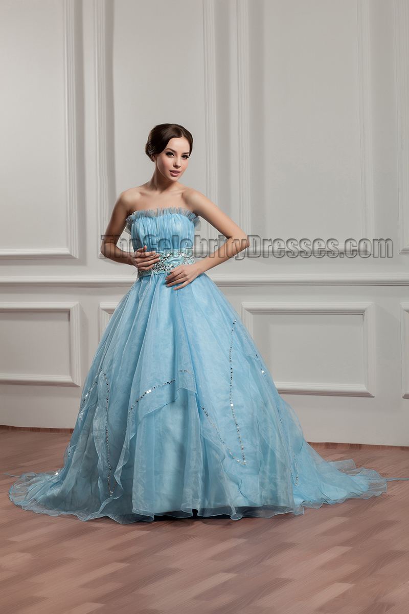 Gorgeous Blue Beaded Ball Gown Strapless Quinceanera Dresses ...