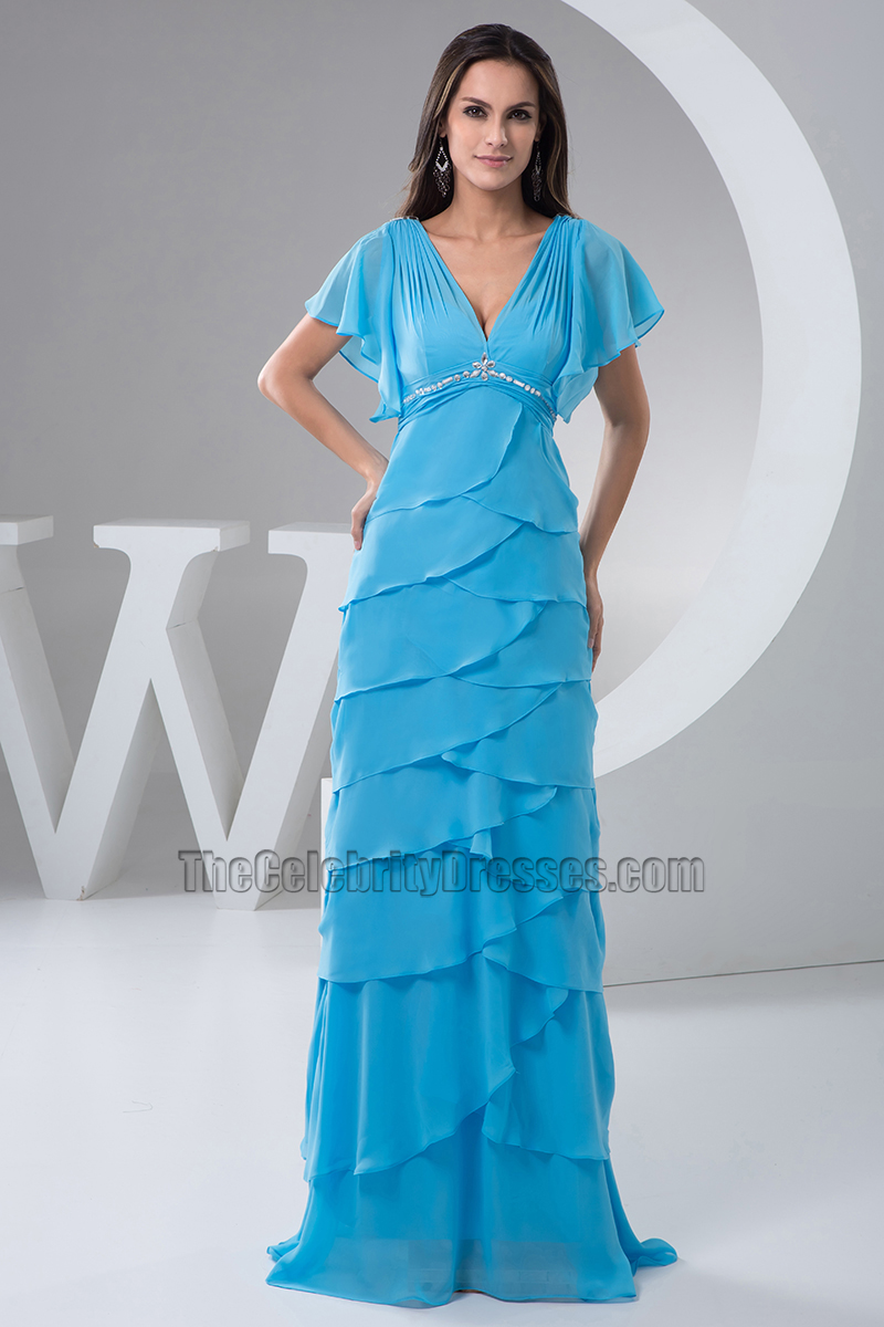 Discount Blue Chiffon Full Length Formal Dress Prom Gown ...