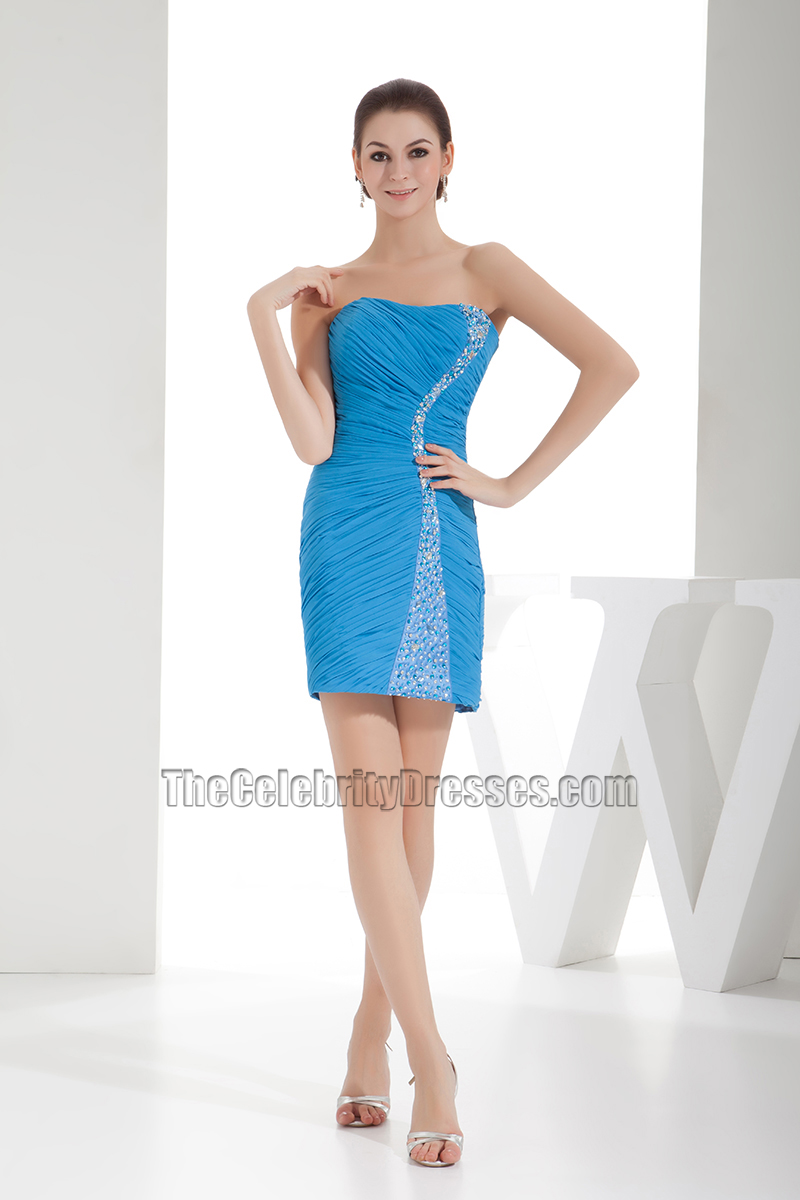 Blue Mini Strapless Chiffon Party Homecoming Dress With Beadwork ...