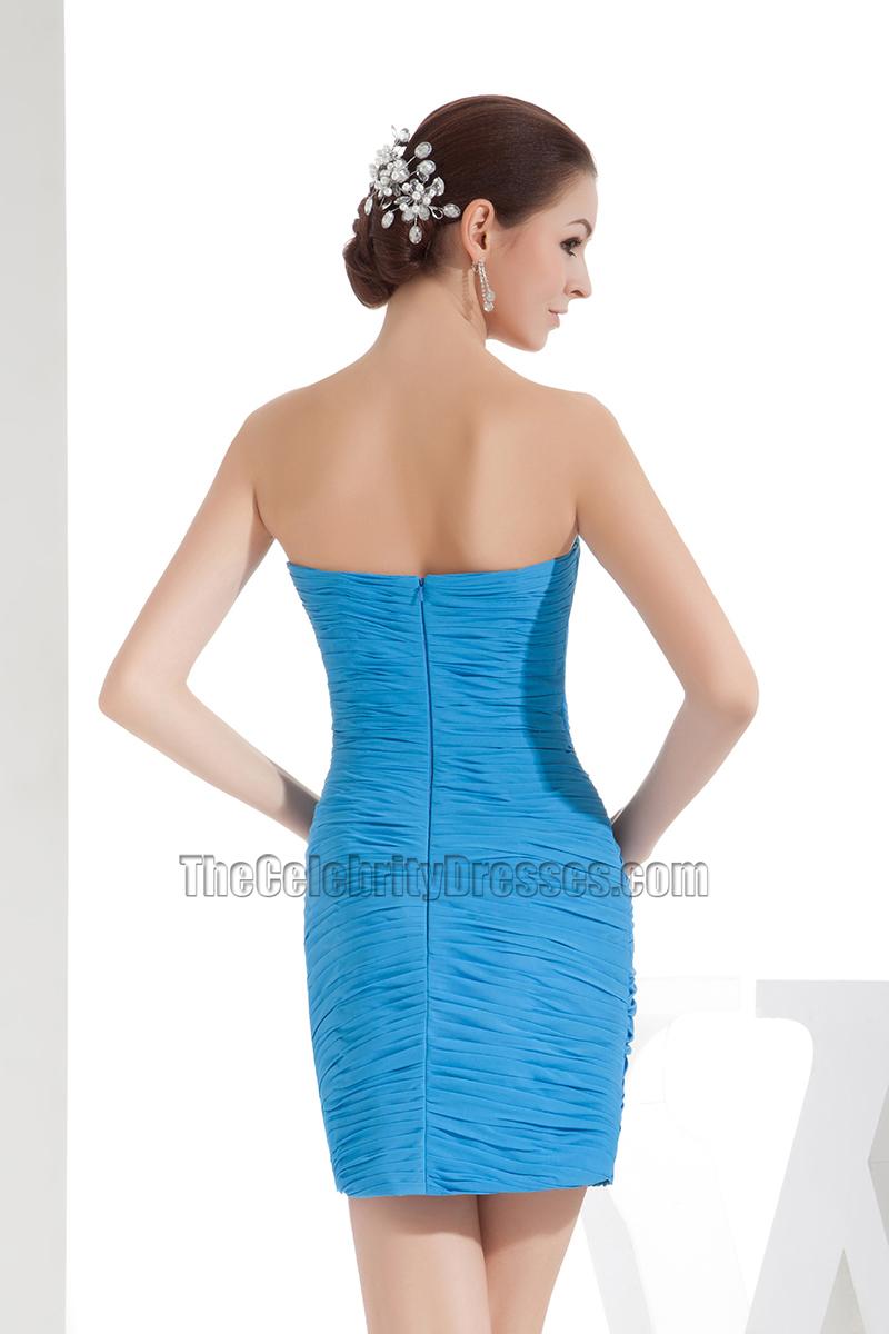 Blue Mini Strapless Chiffon Party Homecoming Dress With Beadwork ...