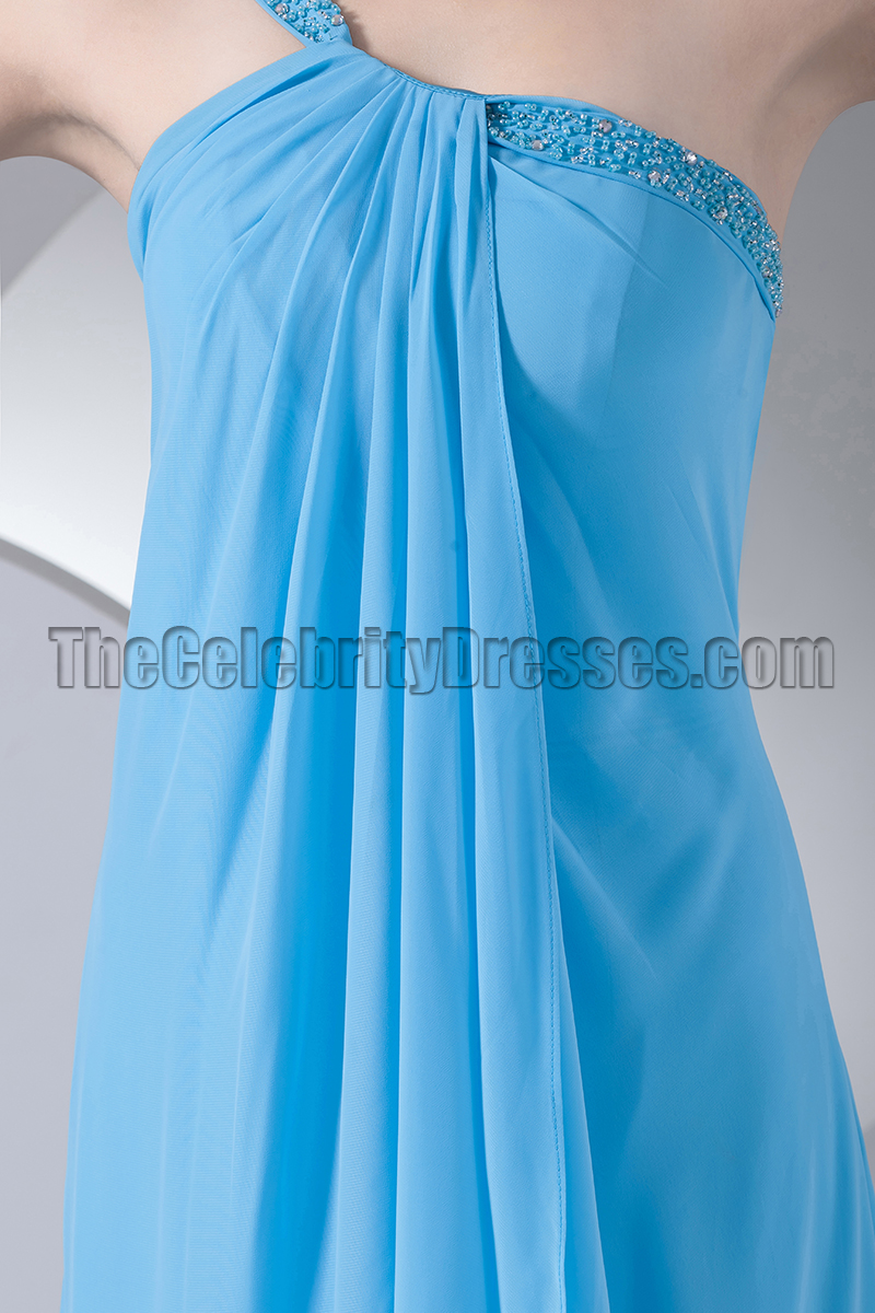 Blue one shoulder chiffon prom gown bridesmaid dresses blue one shoulder chiffon prom gown bridesmaid dresses thecelebritydresses ombrellifo Image collections