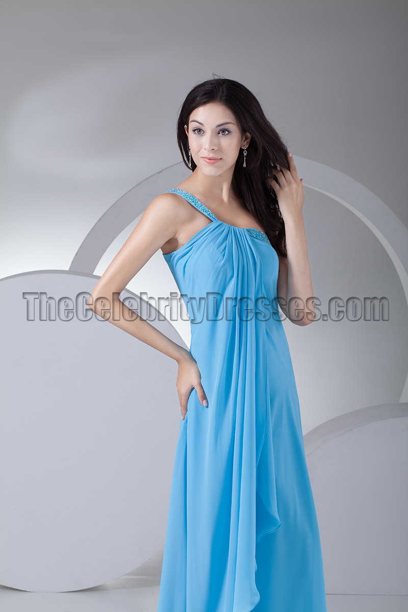 Blue One Shoulder Chiffon Prom Gown Bridesmaid Dresses ...