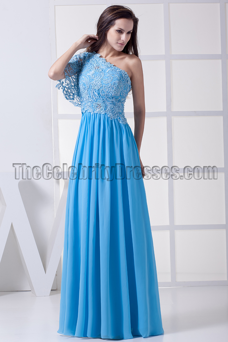 Blue One Shoulder Prom Dress Military Ball Gown - TheCelebrityDresses
