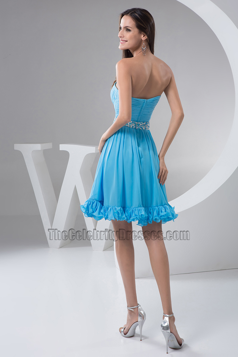 Blue Strapless A-Line Chiffon Cocktail Party Graduation Dresses ...