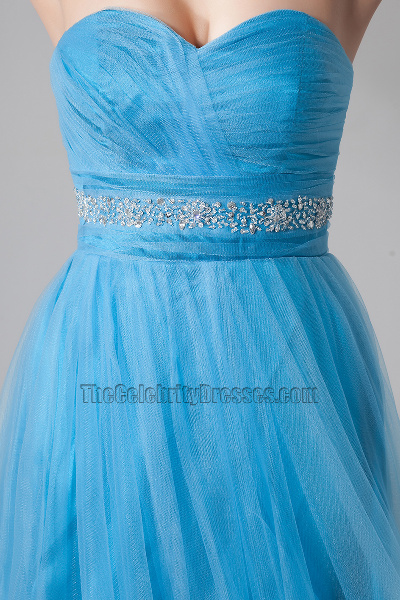 Cute Blue Strapless Strapless Party Homecoming Dresses ...