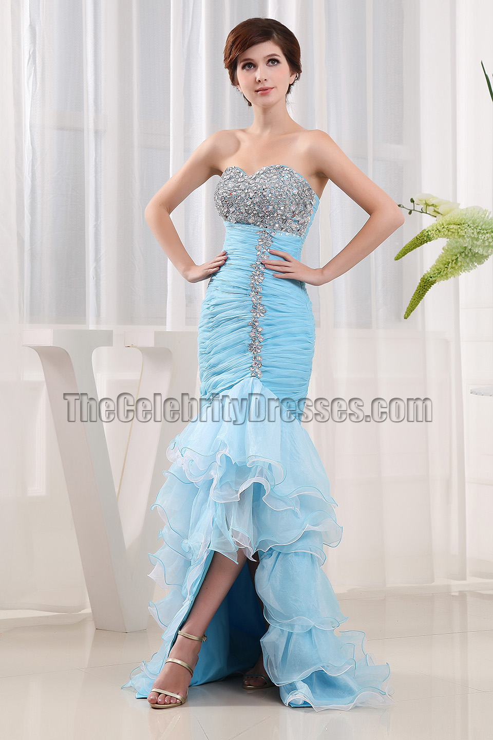 New Style Blue Strapless Mermaid Formal Dresses Prom Gowns ...