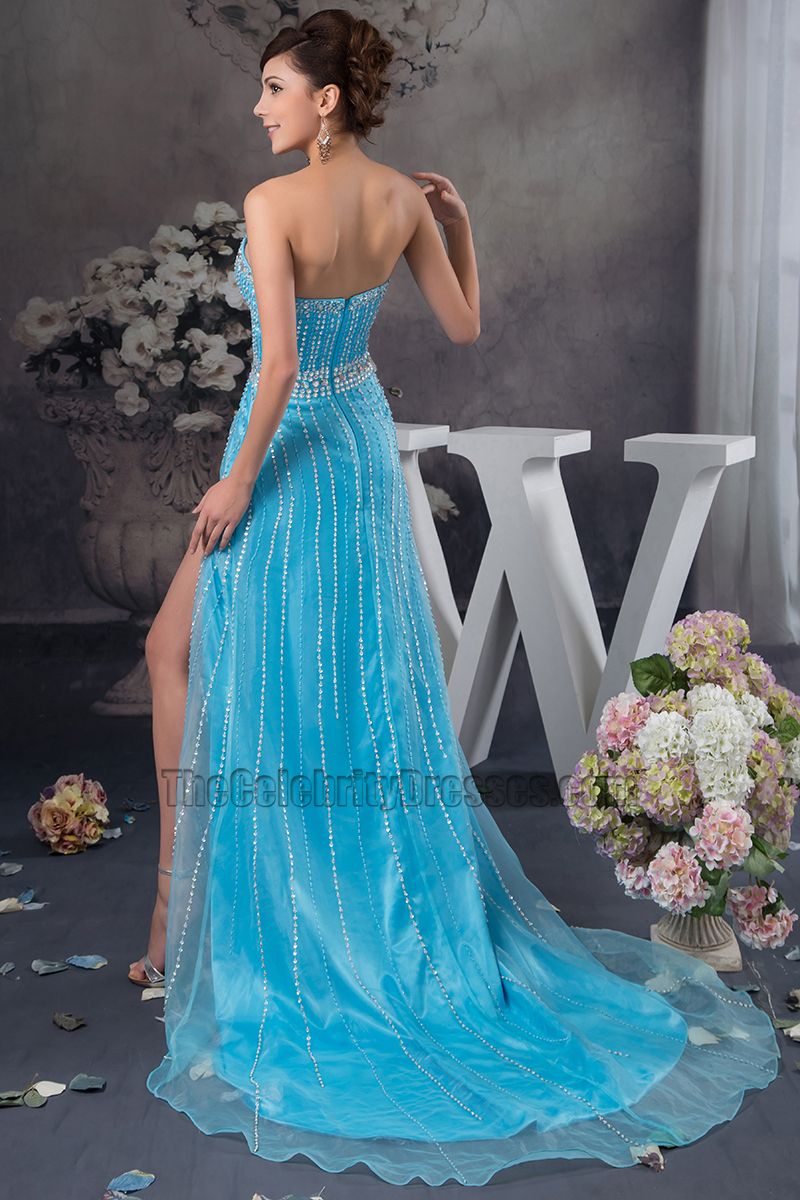 Blue Sweetheart Strapless Formal Dress Prom Gown With Beadwork ...