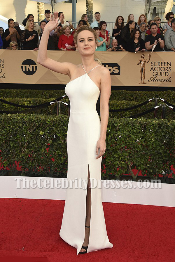 Brie Larson Ivory Spaghetti Straps Backless Evening Prom