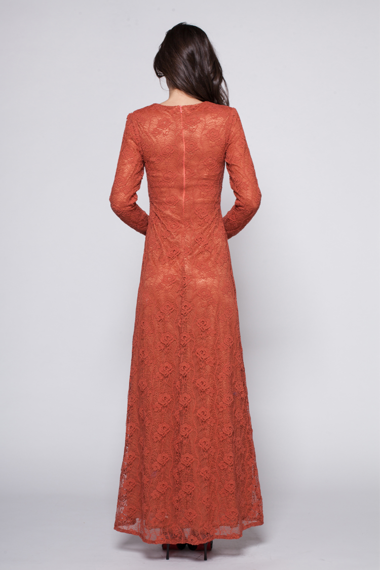 Bright Rust Red Long Sleeve Lace Formal Dress - TheCelebrityDresses