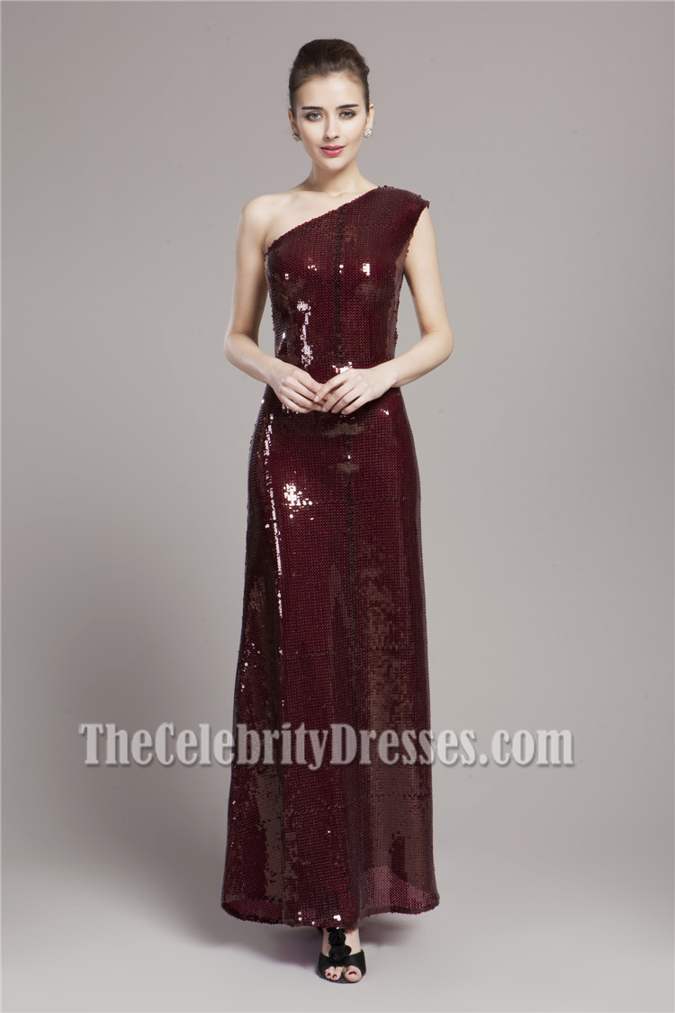 Burgundy Sequined One Shoulder Prom Gown Evening Dress ...