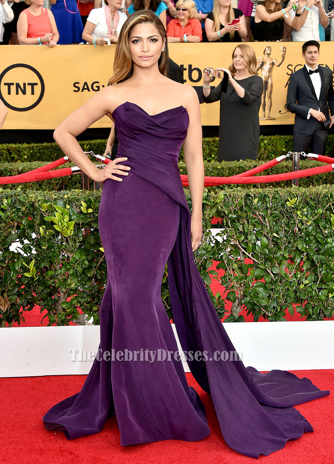 Camila Alves Purple Strapless Formal Dress Sag Awards 2015