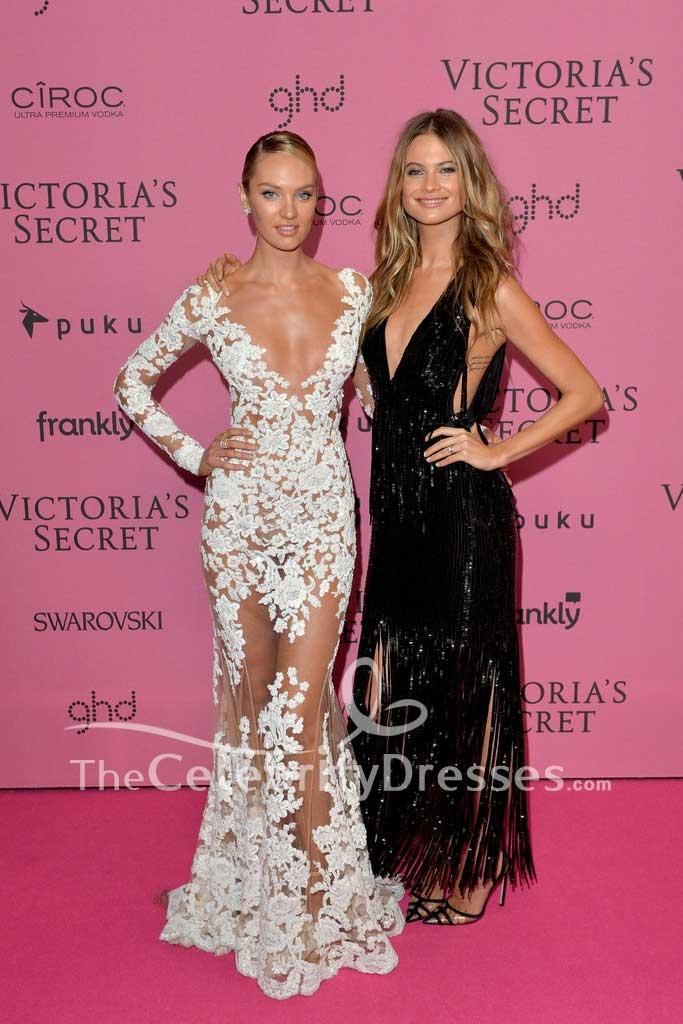 Candice Swanepoel Sexy White Lace Evening Dress With Sleeves 2014 ...