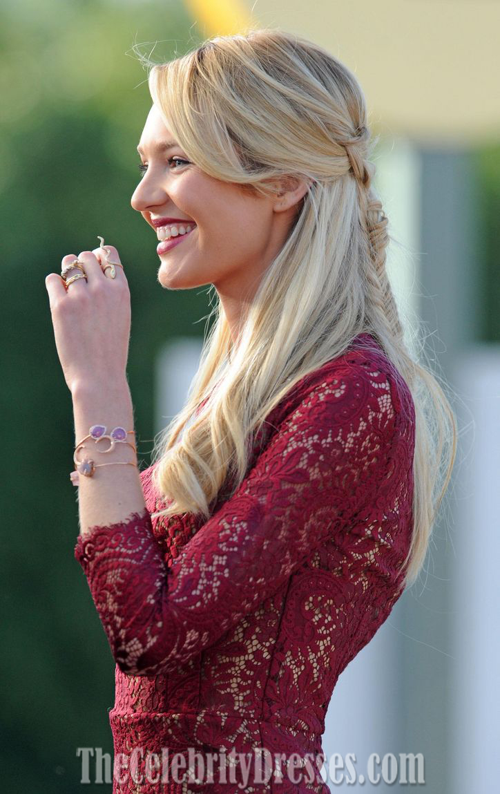 Candice Swanepoel Short Burgundy Lace Party Cocktail