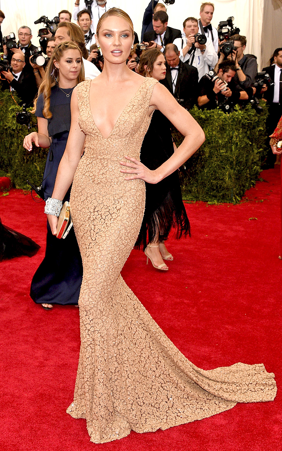 Candice Swanepoel Champagne See Through Lace Evening Dress Met ...