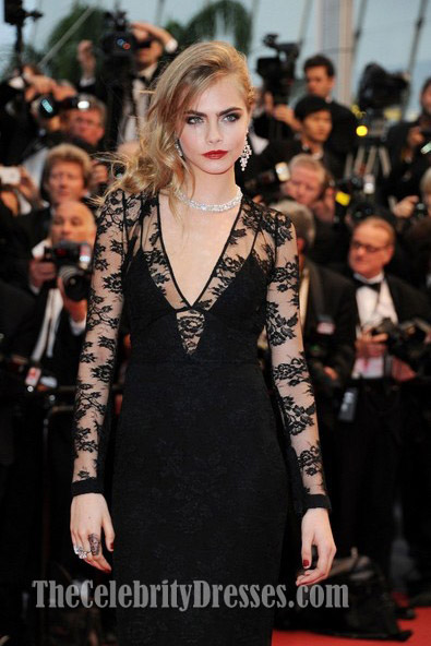 Cara Delevingne Black Evening Dress Cannes Film Festival Opening Ceremony