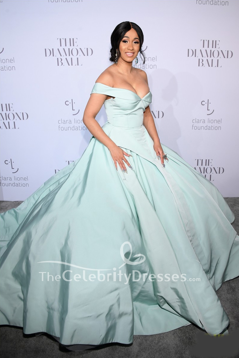 Cardi B Mint Off The Shoulder Ball Gown Dress 2017 Rihanna