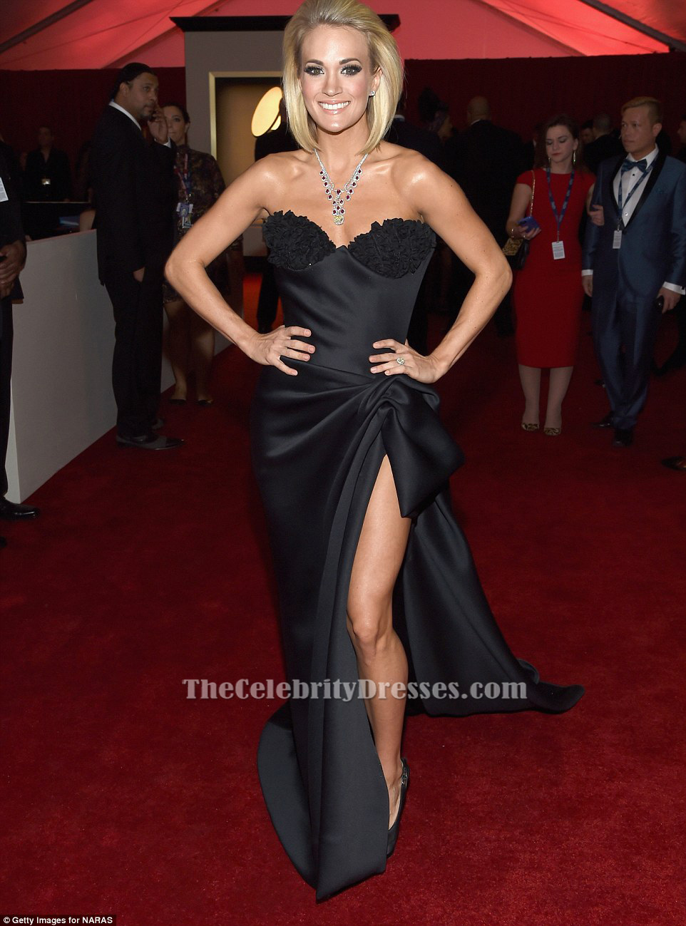 bba4ed92873 Carrie Underwood Black Strapless Formal Dress Grammy 2016 Red Carpet Gown  TCD6542