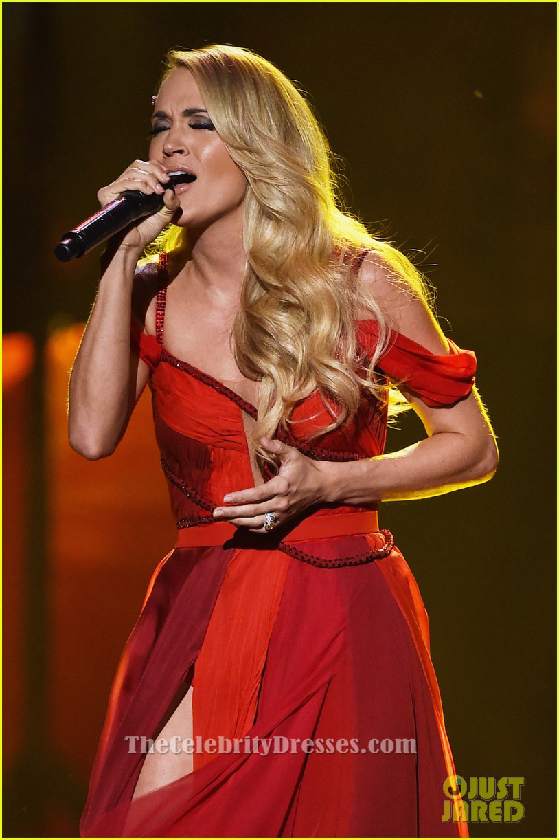 Carrie Underwood Red Chiffon Evening Dress Amas 2015