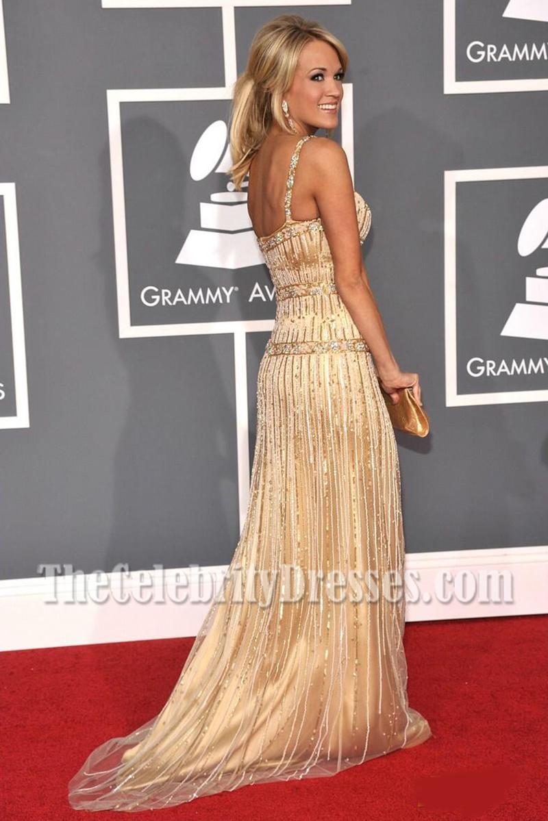 Carrie Underwood Gold Backless Sequins Evening Dress 51st