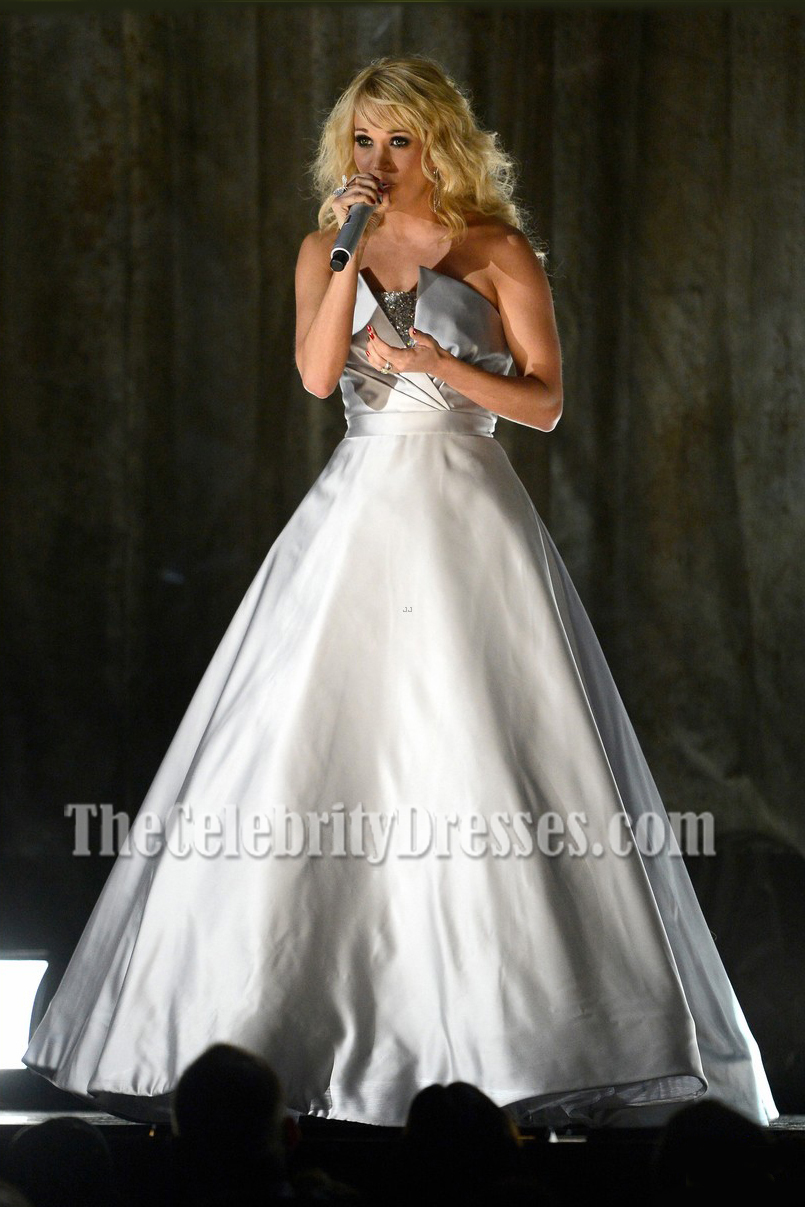 Carrie Underwood Silver Strapless Ball Gown 2013 Grammy