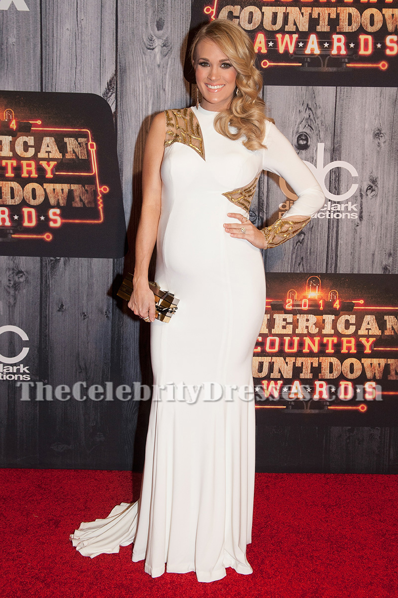 Carrie underwood white one sleeve maternity evening dress 2014 carrie underwood white one sleeve maternity evening dress 2014 american country countdown awards thecelebritydresses ombrellifo Images