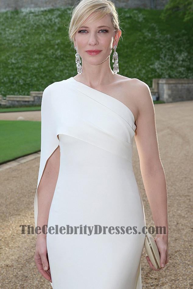 Cate Blanchett White One Shoulder Prom Dress charity gala ...
