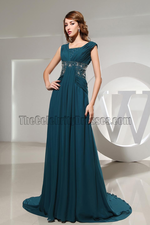 Celebrity Inspired Chiffon Beaded Formal Dress Evening Prom Dresses