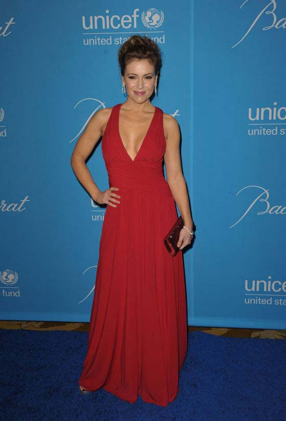Celebrity Dresses Alyssa Milano Red Chiffon Prom Gown