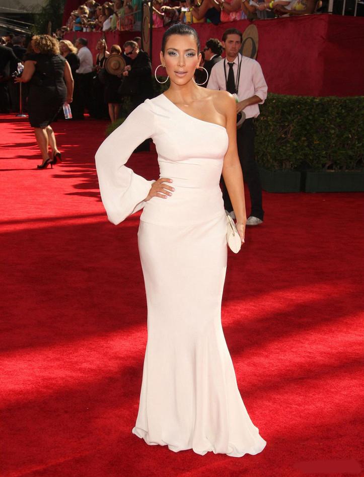 Kim Kardashian White One Sleeve Prom Formal Dress Emmy Awards 2009 ...