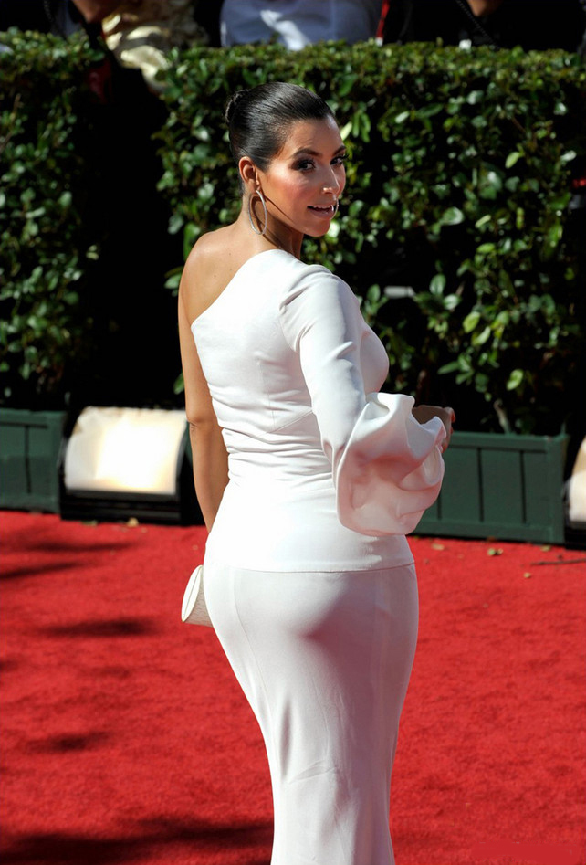 Kim Kardashian White One Sleeve Prom Formal Dress Emmy
