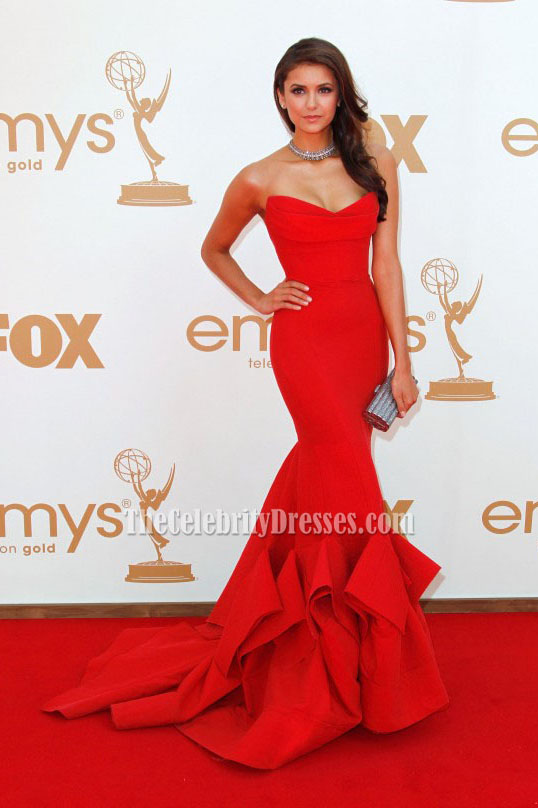 Nina Dobrev Red Strapless Prom Gown Formal Dress 2011 Emmy Awards ...