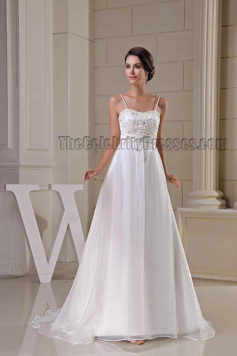 A line spaghetti strap wedding dresses
