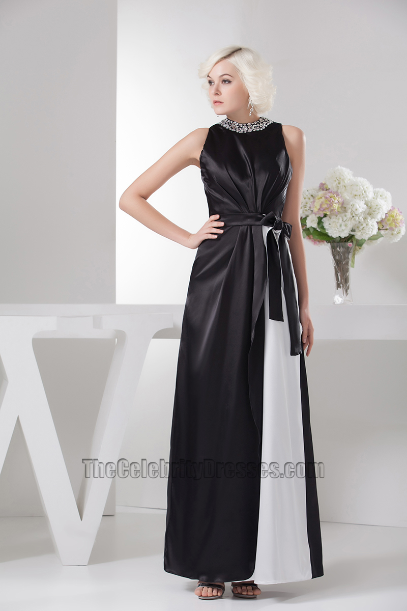 Celebrity Inspired Black And White Formal Dress Evening Prom Gown ...