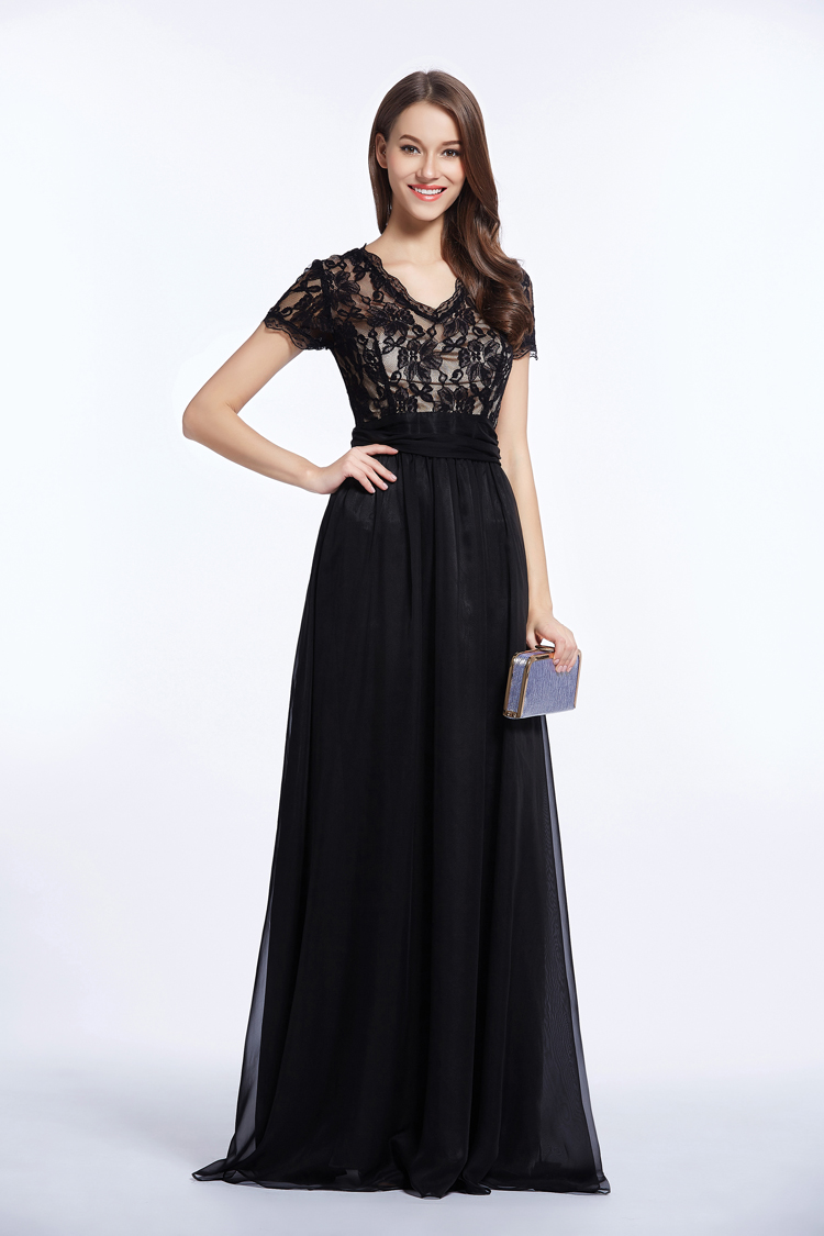 celebrity inspired black evening dress prom gown