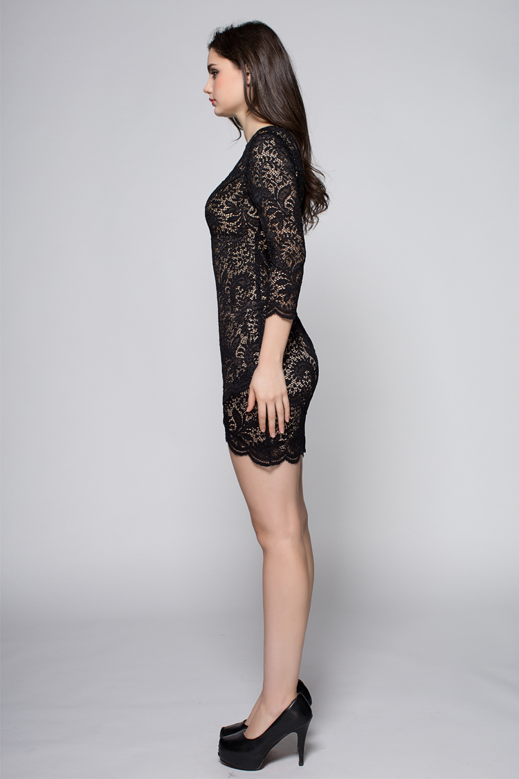 celebrity inspired black lace cocktail party dress