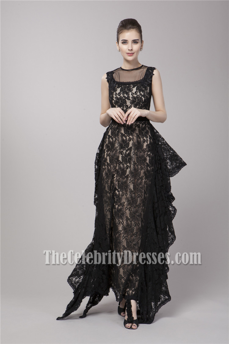 Celebrity Inspired Black Lace Formal Evening Dress Prom