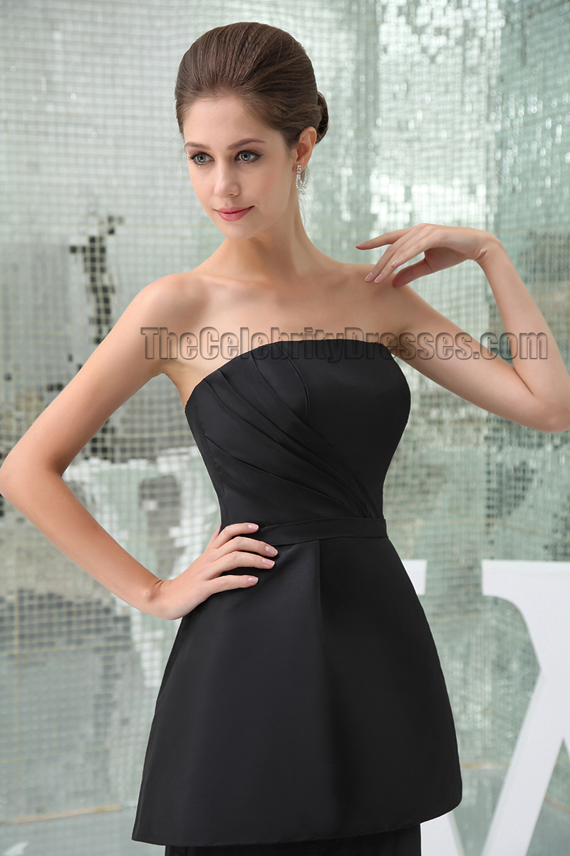 Celebrity Inspired Black Strapless Formal Dress Prom Evening Gown - TheCelebrityDresses