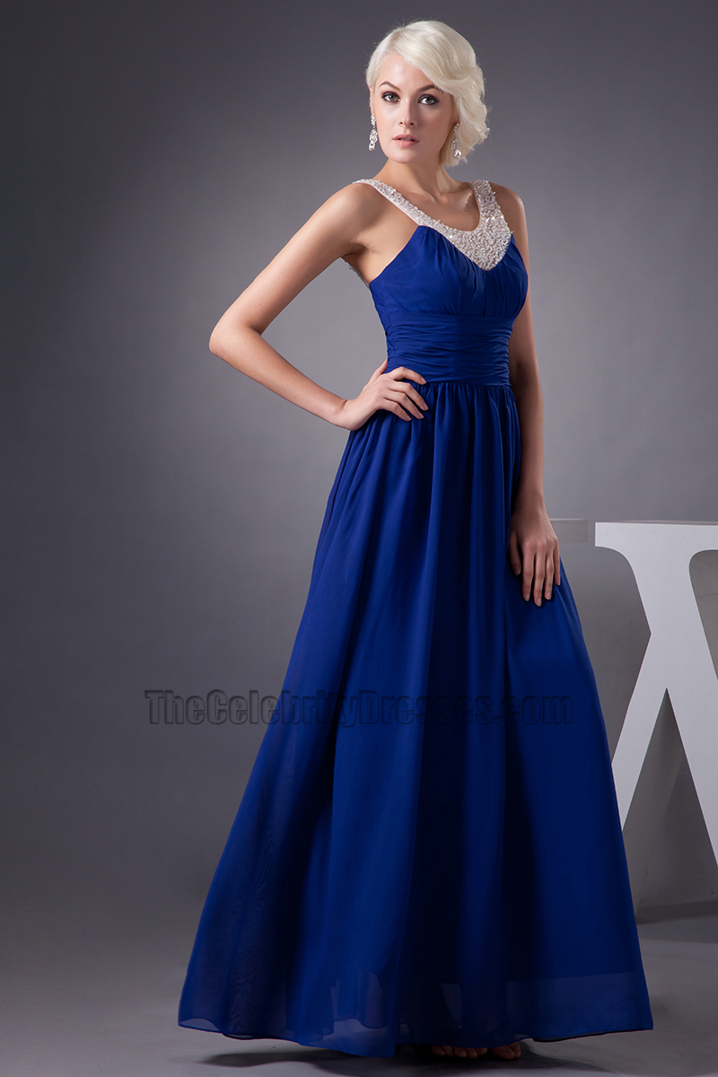 Celebrity Inspired Dark Royal Blue Chiffon Prom Dress Evening Gown - TheCelebrityDresses