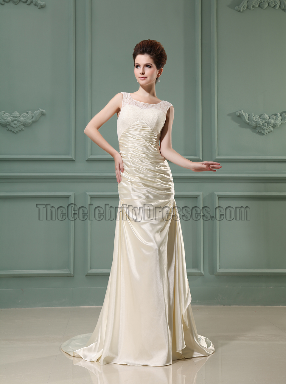 Sheath Column Ivory Long Prom Dress Evening Gowns - TheCelebrityDresses
