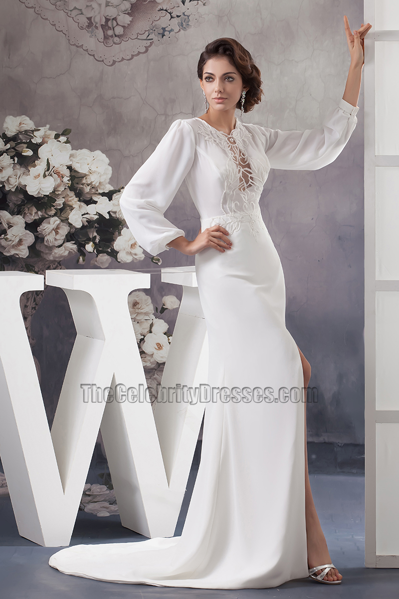 Celebrity inspired long sleeve chapel train wedding dresses celebrity inspired long sleeve chapel train wedding dresses thecelebritydresses ombrellifo Image collections