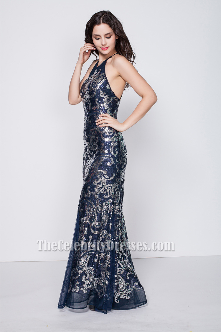 Celebrity Inspired Navy Backless Evening Gown Formal Dresses ...