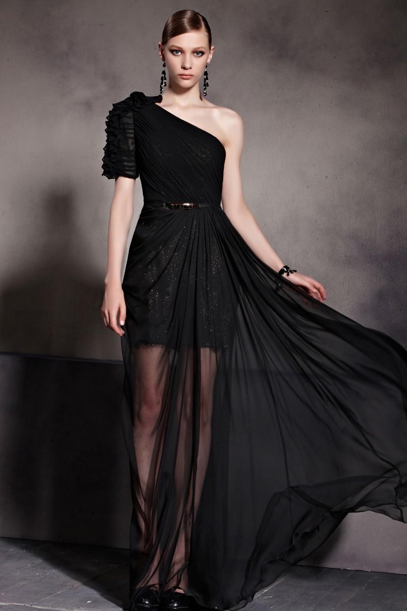 Celebrity Inspired One Shoulder Black Prom Gown Evening Dress - TheCelebrityDresses
