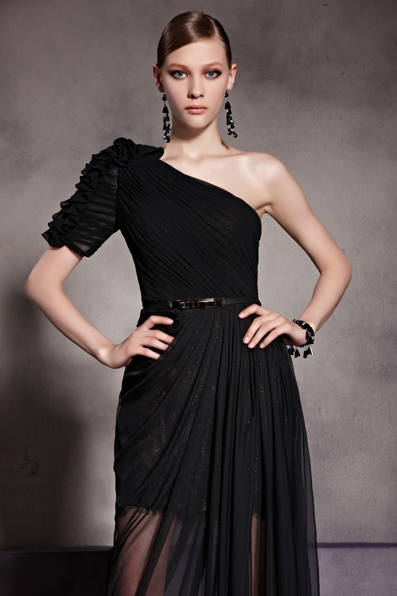 Celebrity Inspired One Shoulder Black Prom Gown Evening Dress ...