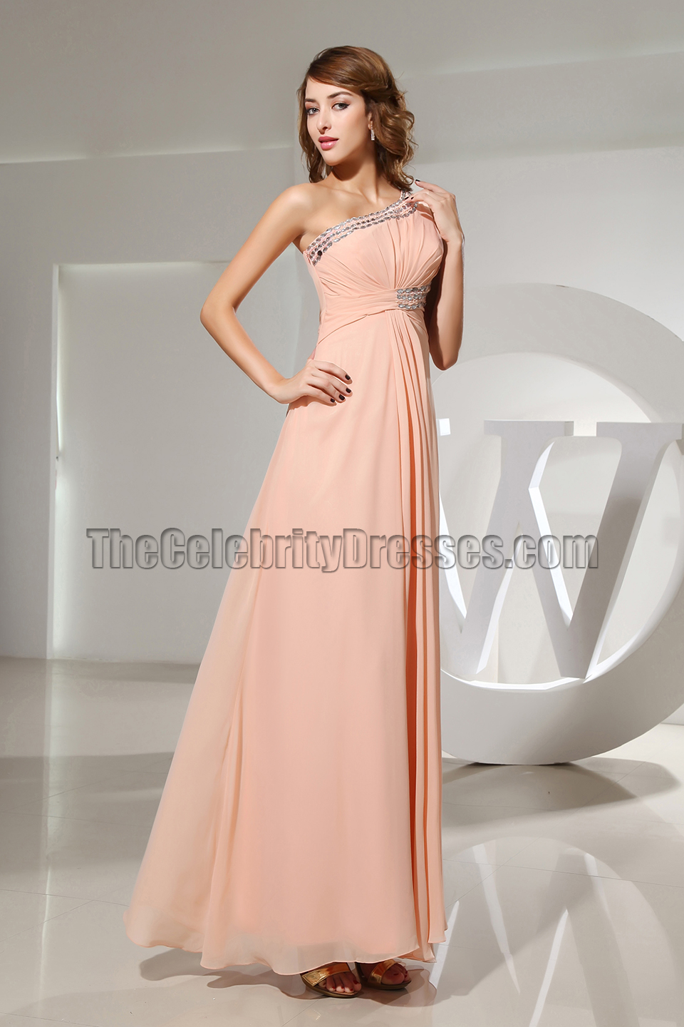 Celebrity Inspired Beaded One Shoulder Prom Gown Evening ...