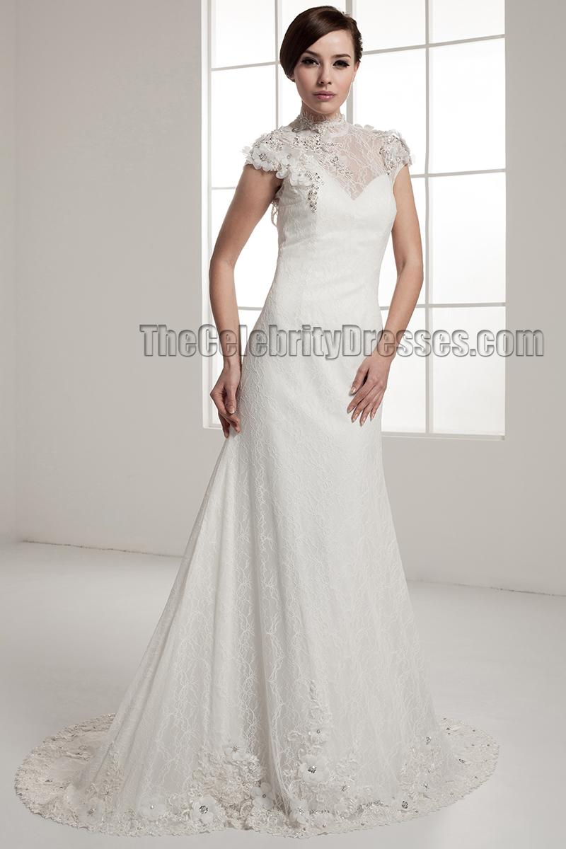 Celebrity Inspired Open Back Lace Chapel Train Wedding Dress ...
