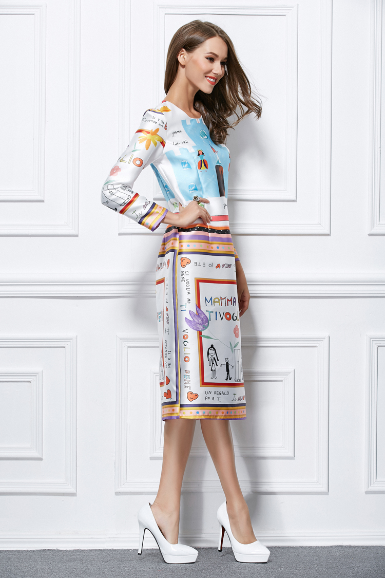 Celebrity Inspired Print Long Sleeve Cocktail Party Dresses ...