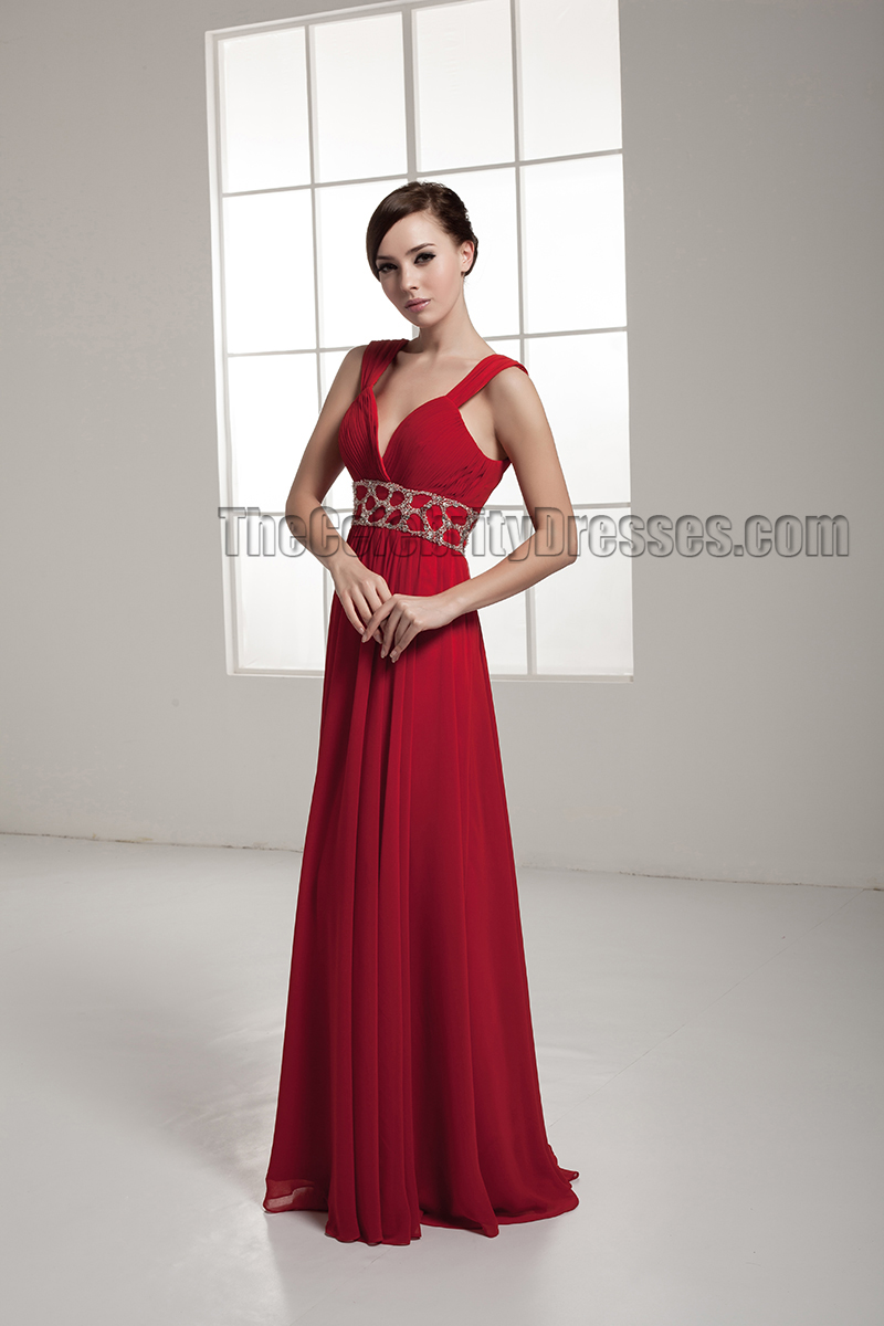 Celebrity Inspired Red Backless Evening Dress Prom Gown ...